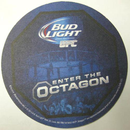 BUD LIGHT, UFC, ENTER THE OCTAGON Beer COASTER, Mat, 2013
